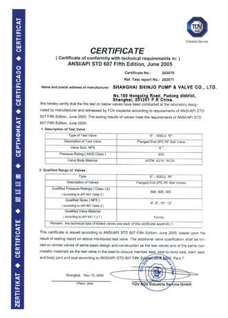 Shinjo Valve API 607 Certifiate
