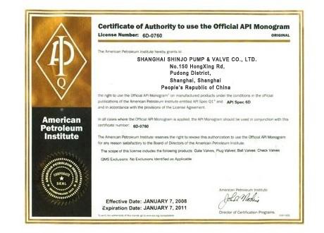 Shinjo Valve API 6D Certificate
