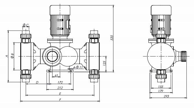 GB-S Duplex Heads Mechanical Metering Pump Drawing