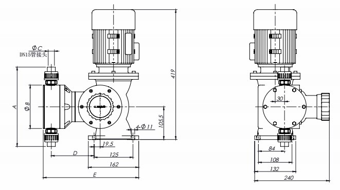 GM mechanical diaphragm metering pump drawing