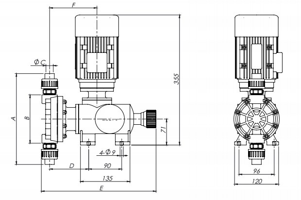 KD Mechanical diaphragm metering pump drawing