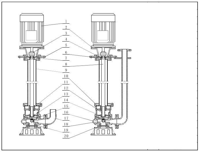 YW Vertical Submerged Pump Structure