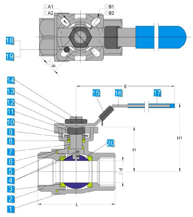 Ball valve drawing