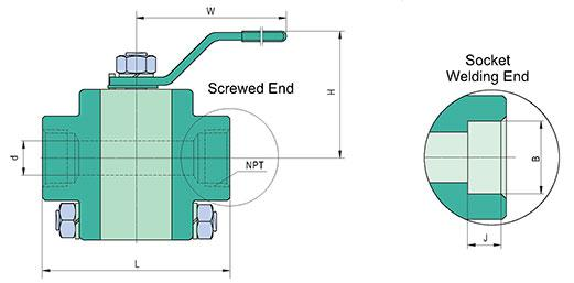 ASTM A105 3PC Forged Ball Valves Class 800/1500/2500 Drawings