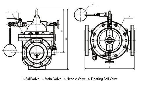 100X Float Water Level Control Valve Dimensions