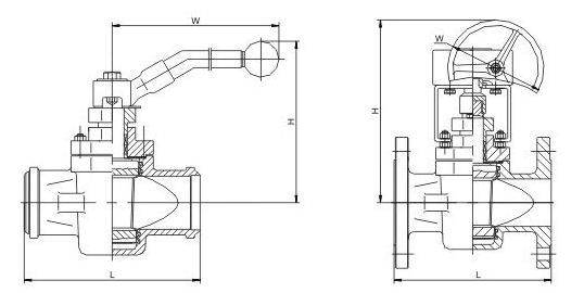 Non-Lubricated Sleeved Plug Valve Dimensions