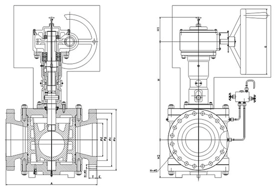 Dimension of Reduced Bore Type Orbit Plug Valve With Gear
