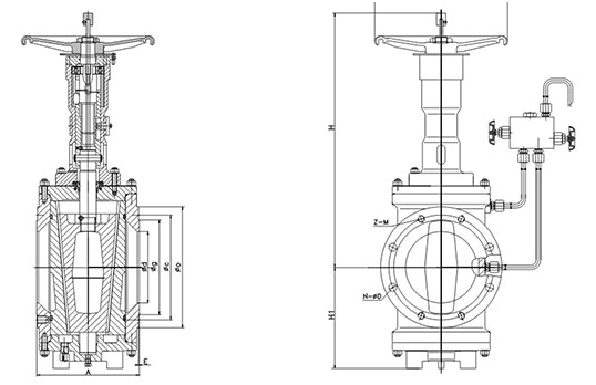 Dimension of Short Pattern Orbit Plug Valve With Handwheel