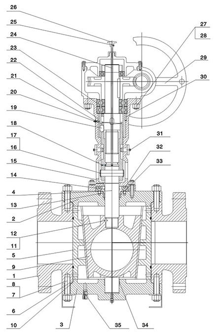 Structure of Full Bore Type Orbit Plug Valve with Gear