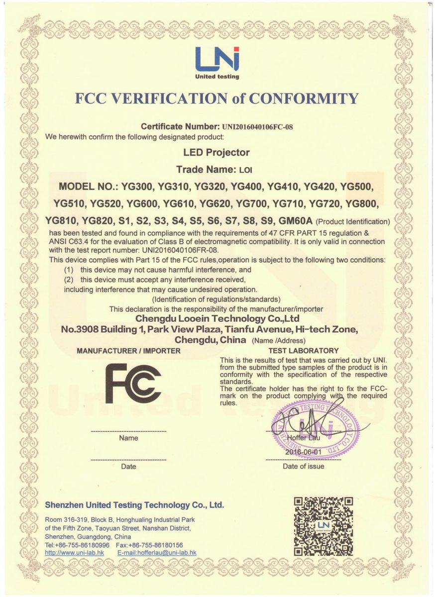 FCC Verification of Conformity