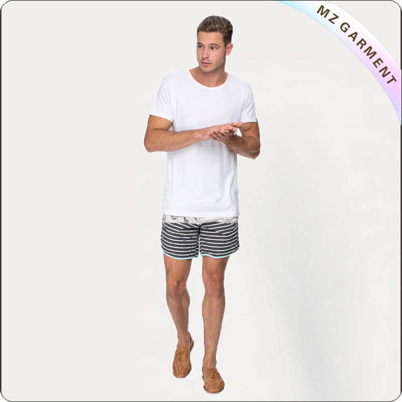 Man Grey Stripe Board Shorts