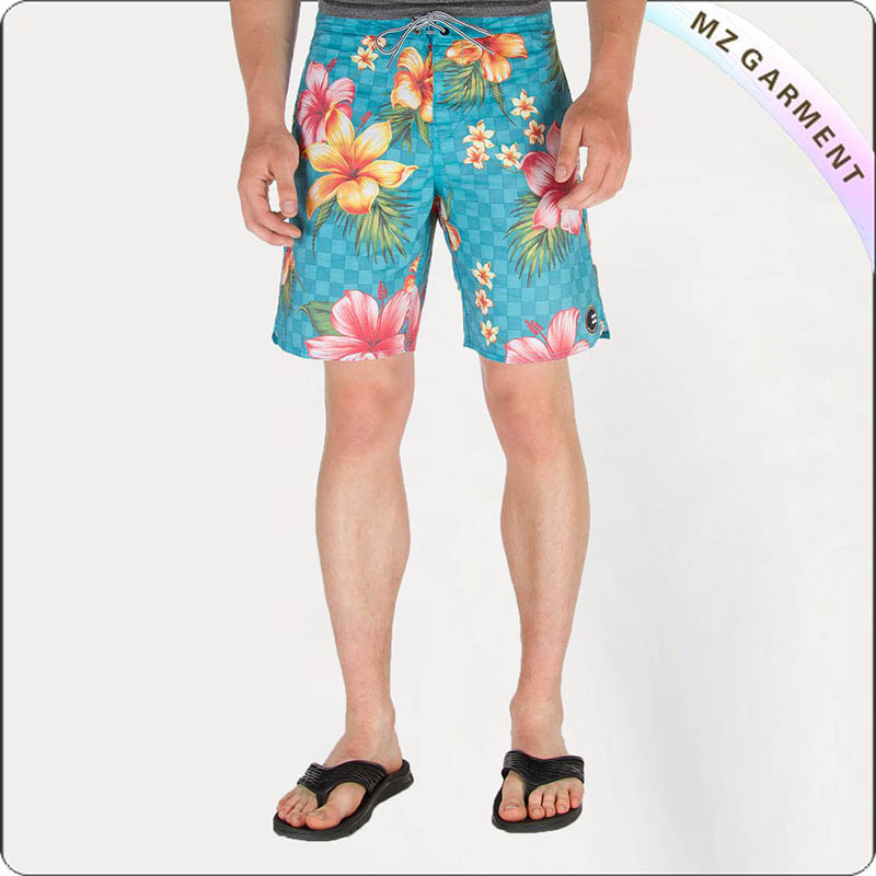 Men Hawiian Pattern Beach Shorts