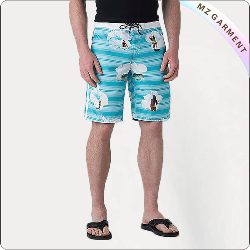 Men Portrait Print Board Shorts