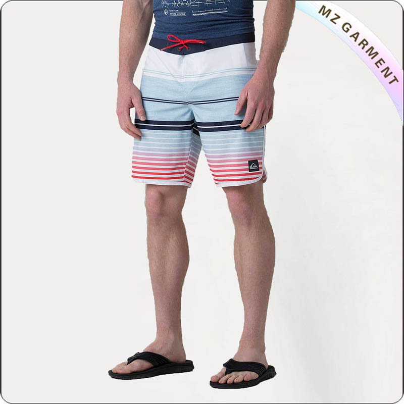 Men Red Draw Cord Swim Trunks