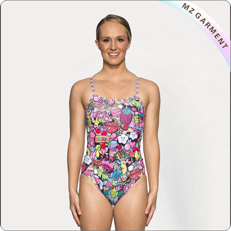 Women Scrambled Pattern Racing Swim Clothes