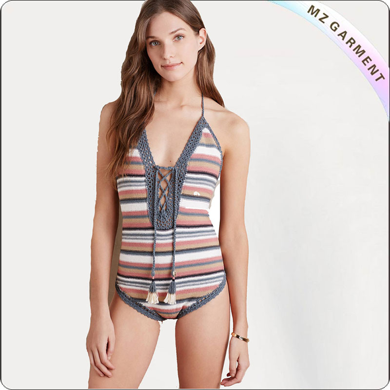 Adult Grouped Stripe One-Piece Swim Clothes