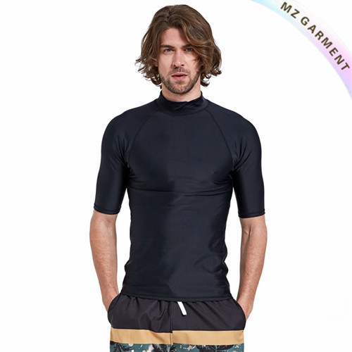 Men Surf Rash Vest, Half Sleeve, Pure Color, Nylon & Spandex