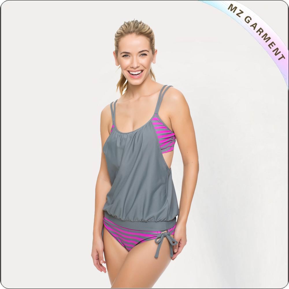 Adult Stripe Two Piece Swimwear
