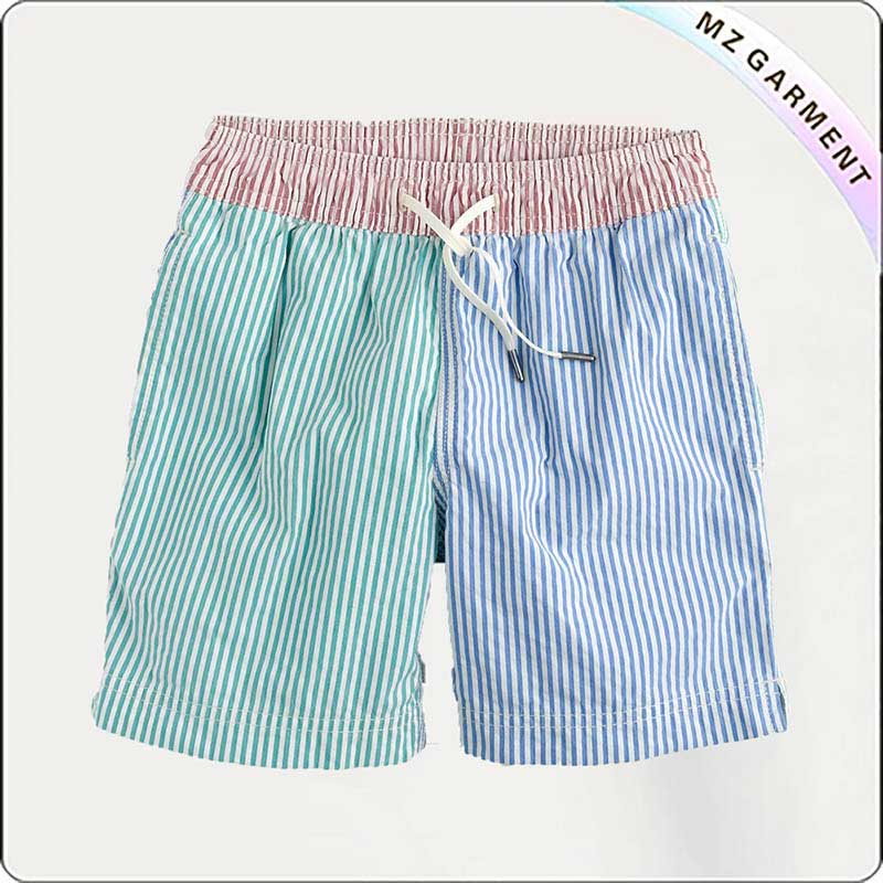 Boys Pinstripe Swim Trunks