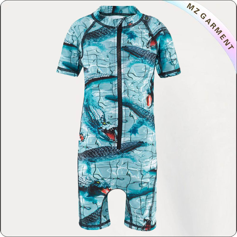 Boy Grid Sun Screen Romper