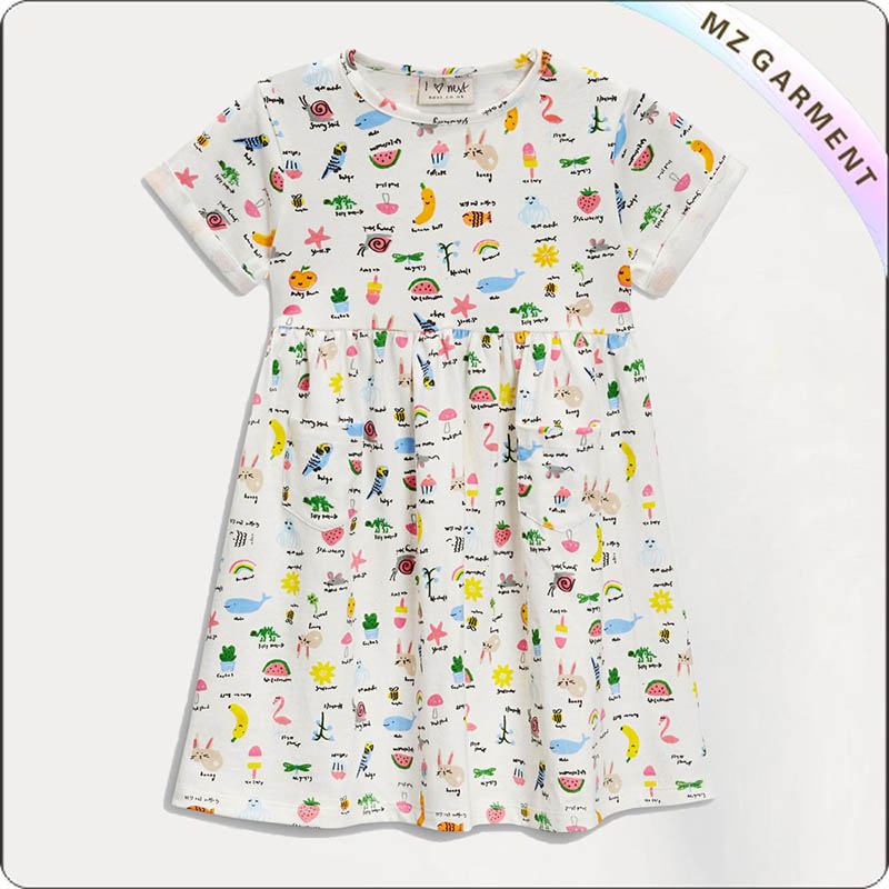 Kids Crew Neck Swimming Dress
