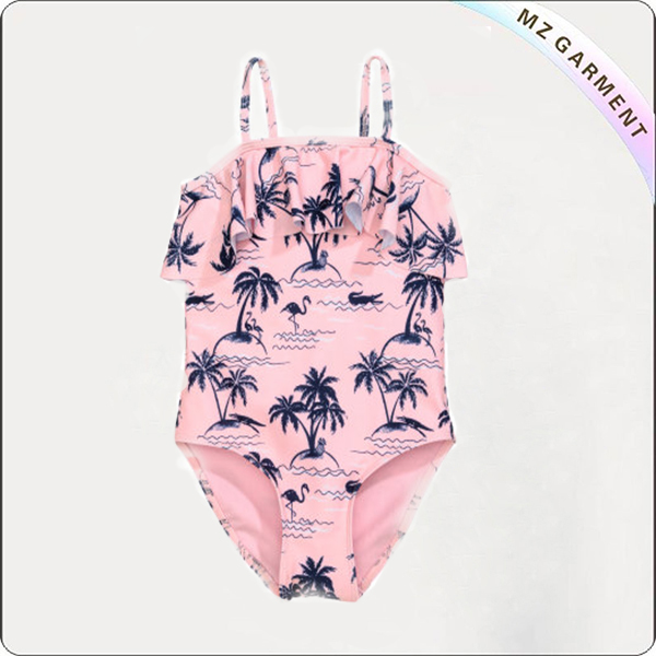 Girls' Light Pink Palms Swimsuit with Ruffle
