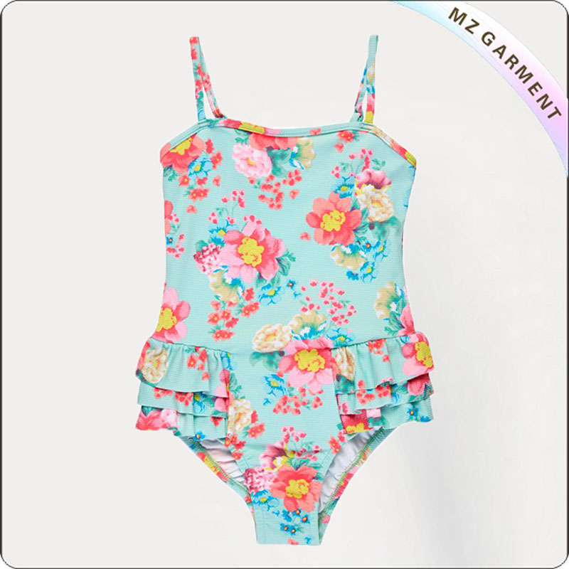 Kids One Piece Ruffle Trim Swimwear