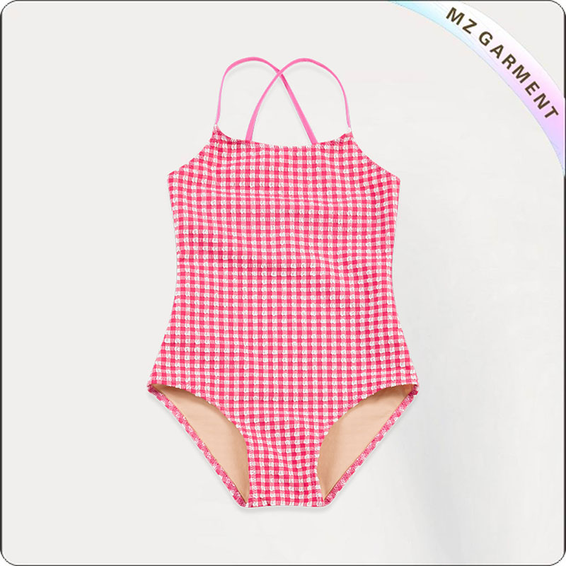 Kids Red Grid Swimwear