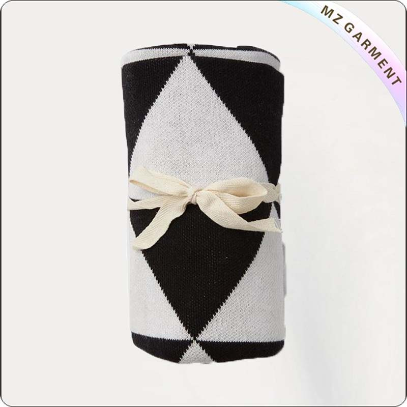 Baby White & Black Check Blanket