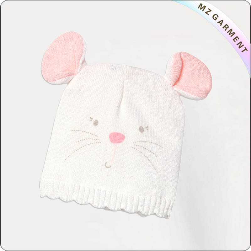 Kids White Cat Skullcap