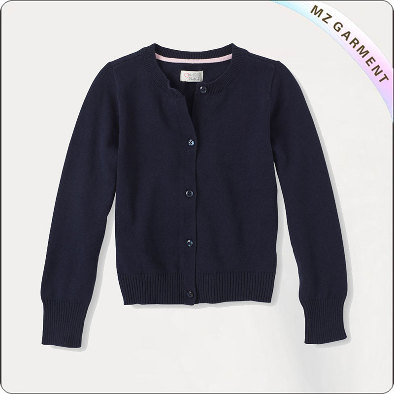 Boys Navy Knit Coat
