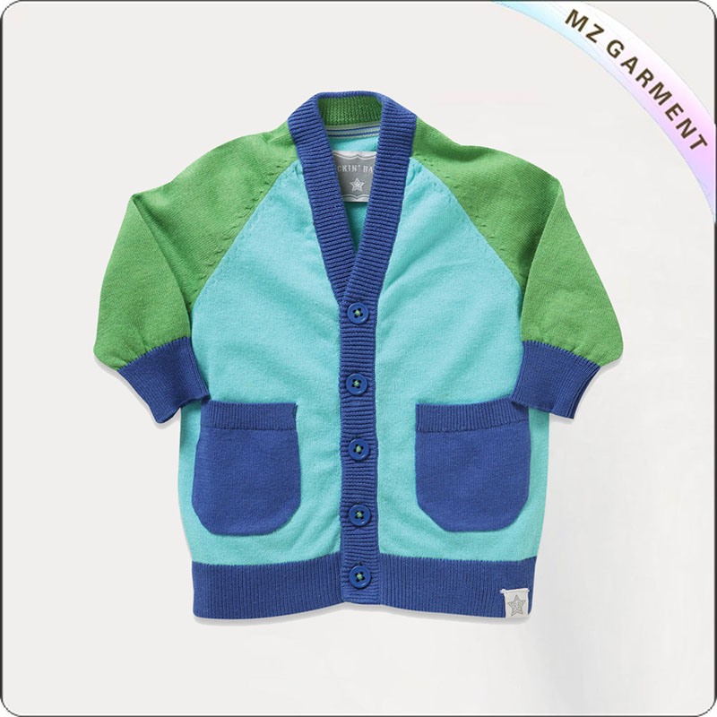 Boys Peacock Blue Trim Jersey Cardis