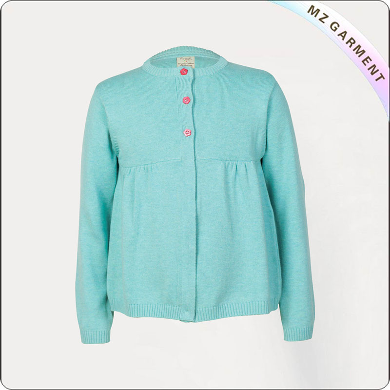 Girls Azure Green Jersey Cardis