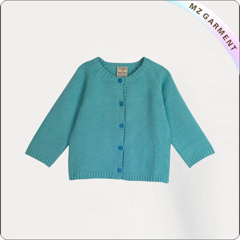 Girls Azure Green Open Front Sweater