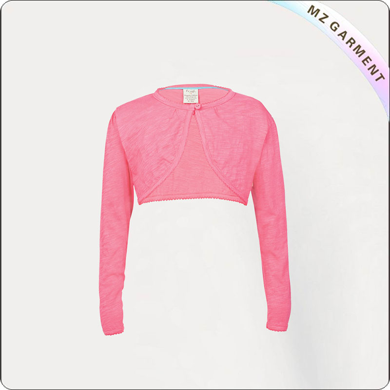 Kids Aurora Pink Crop Cardigan