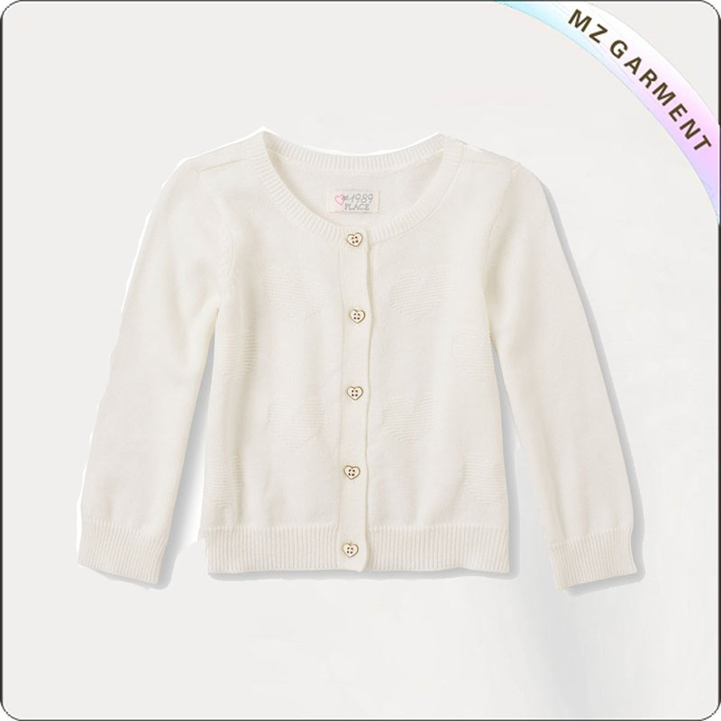Kids Creamy White Open Front Sweater