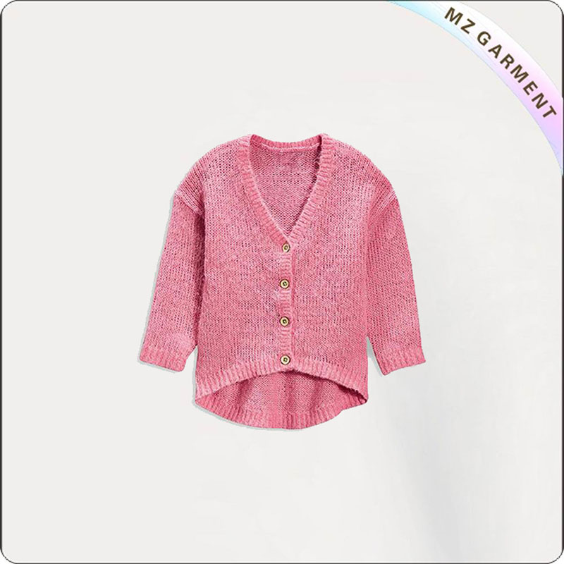 Kids French Rose Open Front Sweater
