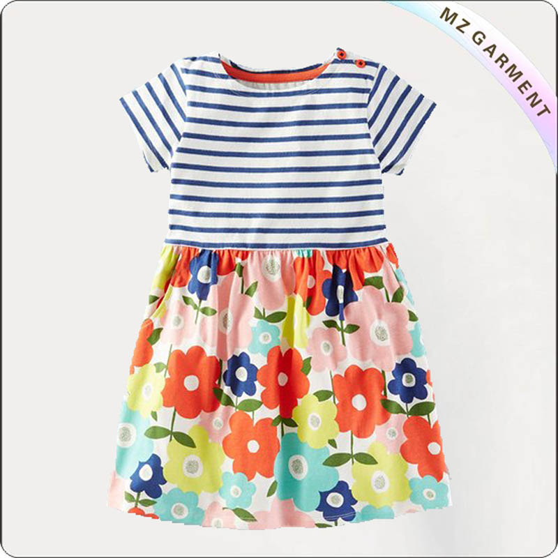Girls Hawaiian Print Short Dress