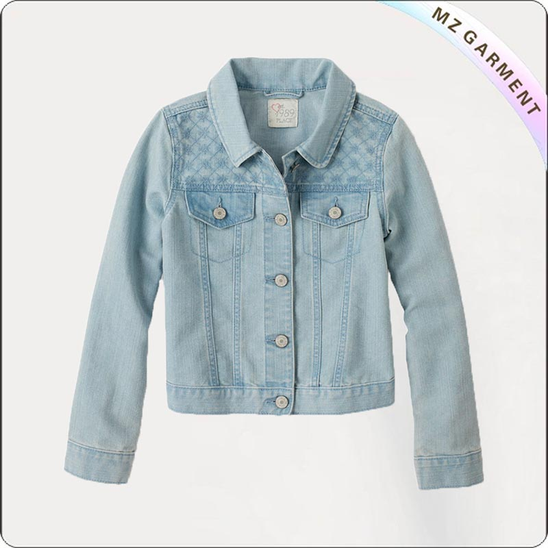 Girls Bluish Check Jacket