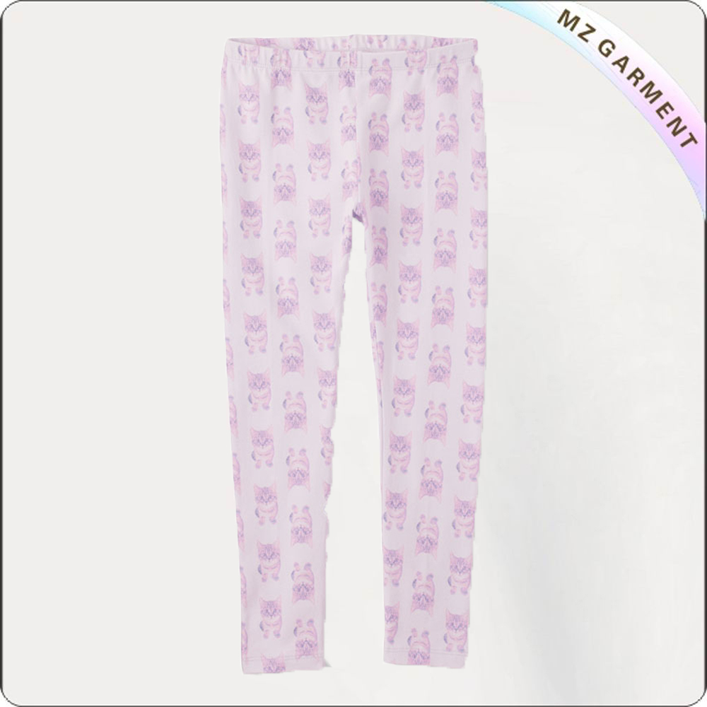Girls Lavender Cat Slim Trousers