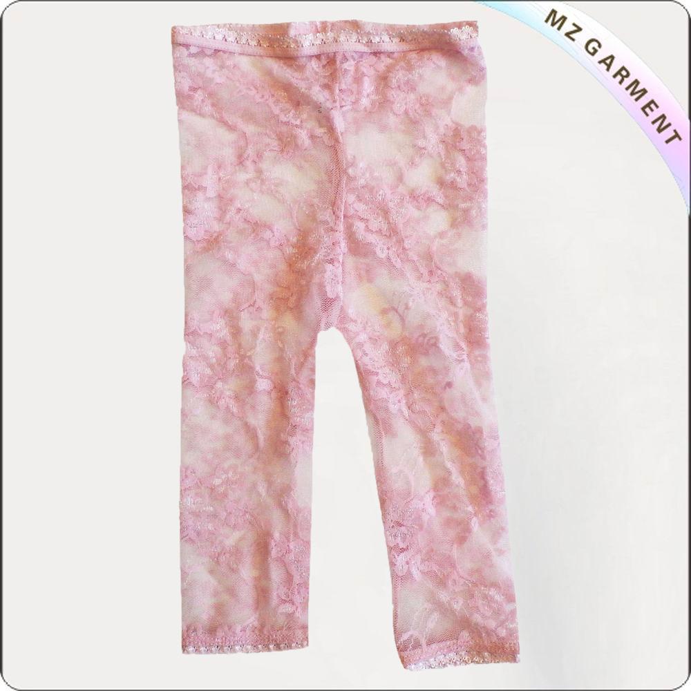 Girls Peach Lace Legging