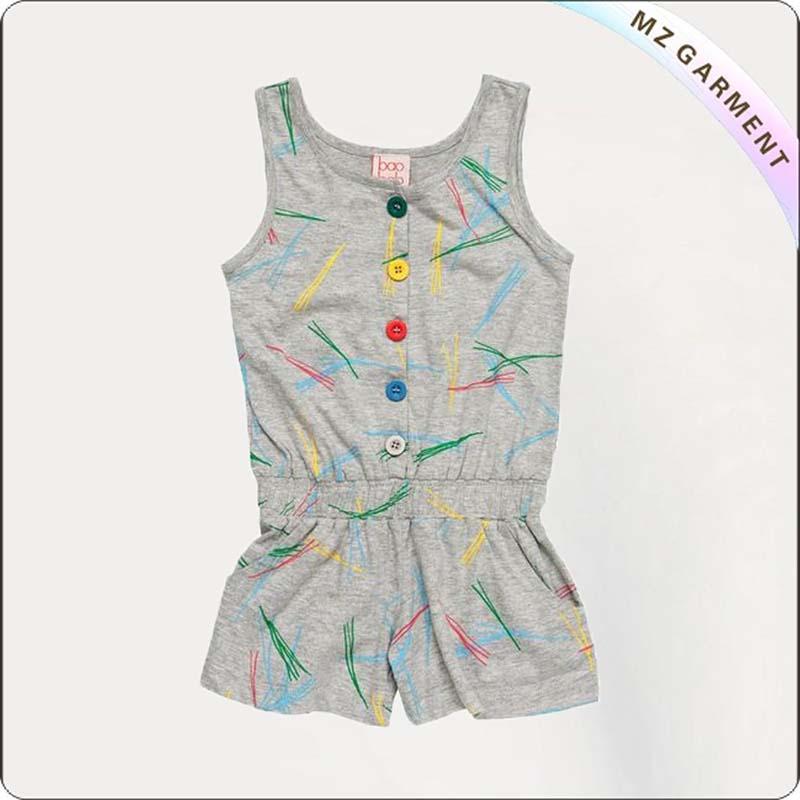 Girls Colorful Line Jumpsuit