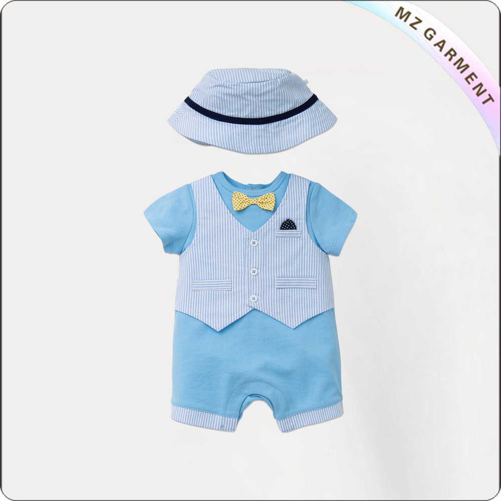 Boys Azure Blue Romper Set