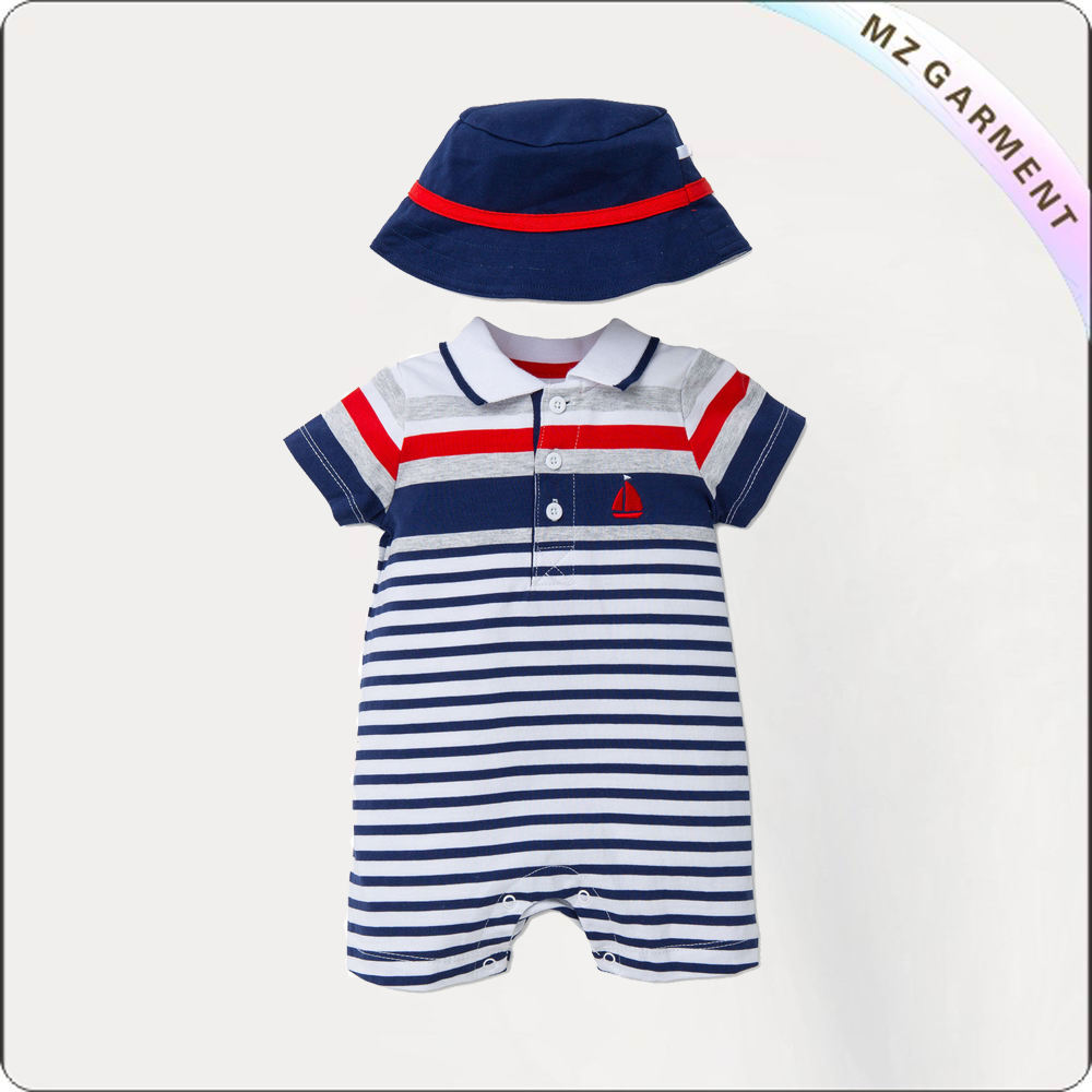 Boys Sailor Snapsuit Set