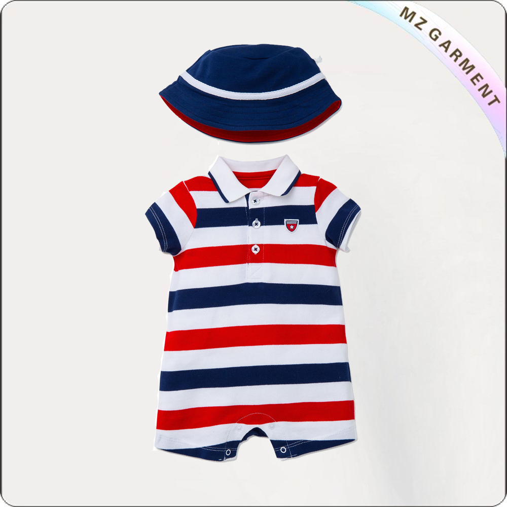 Children Tricolor Stripe Snapsuit