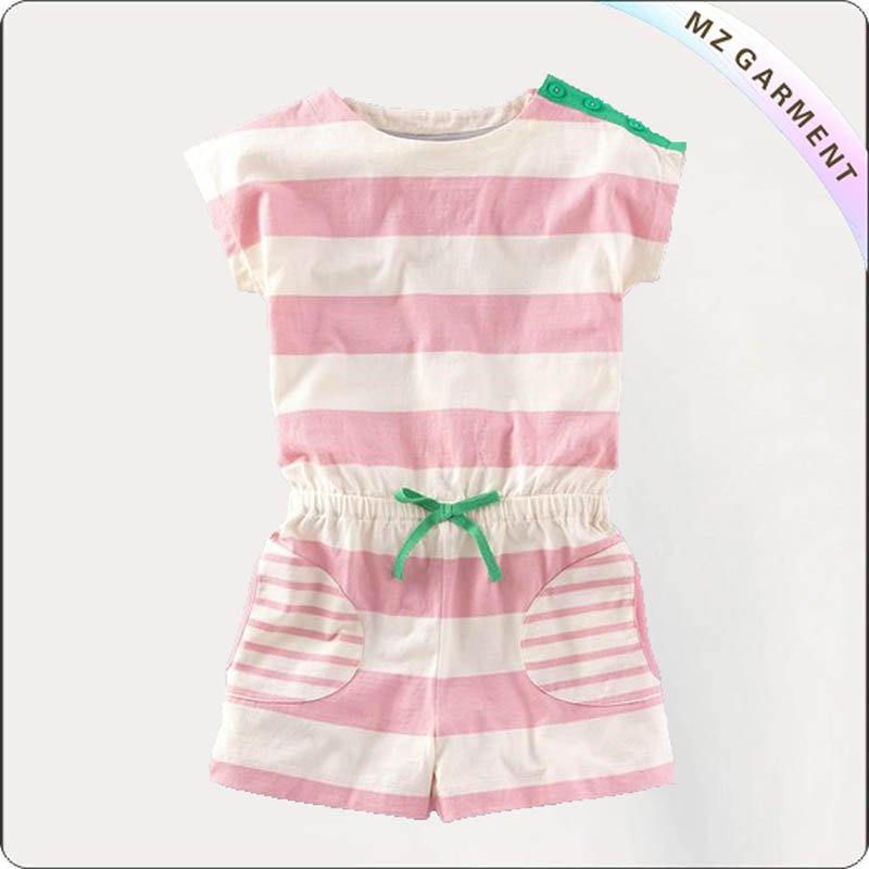 Girls Pink Stripe Playsuit
