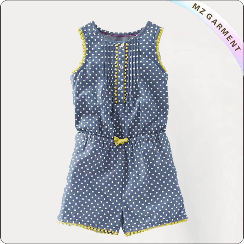 Girls Pom-Pom Trim Romper
