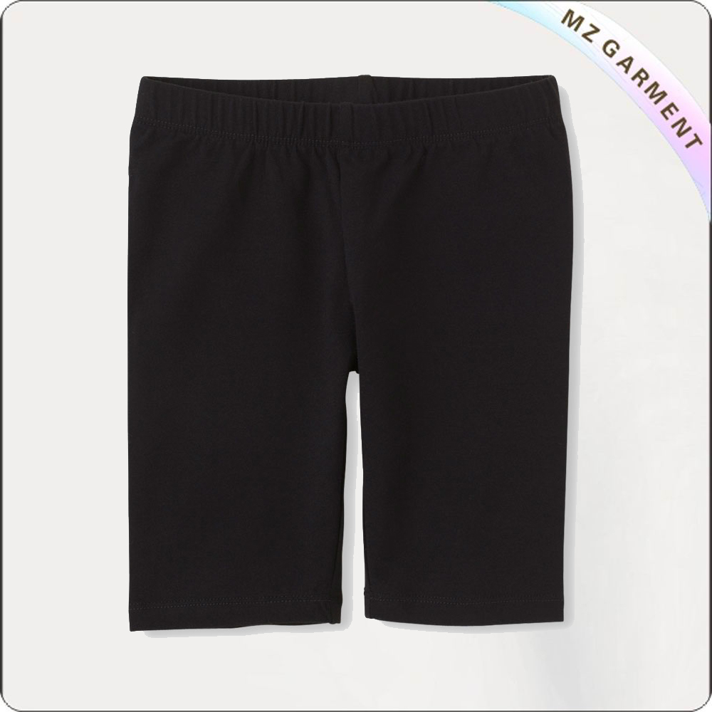 Girls  Charcoal Black Short Leggings