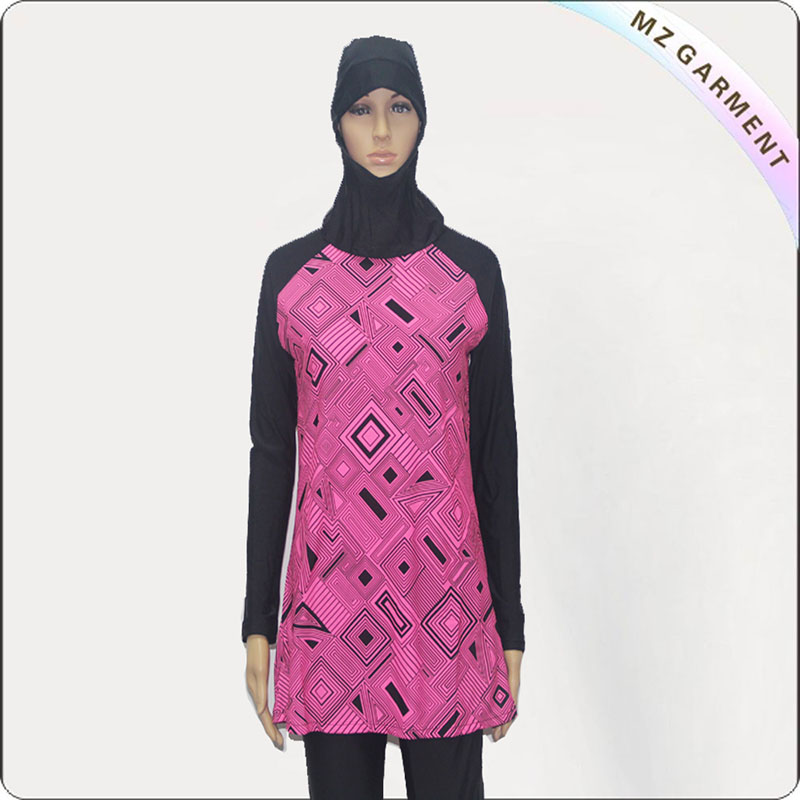 Pink Lattice Muslim Swimsuit