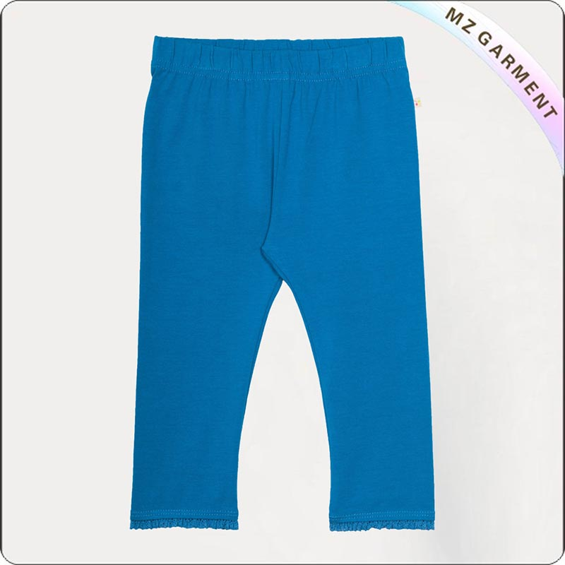 Kids Natural Peacock Blue Tight Trousers